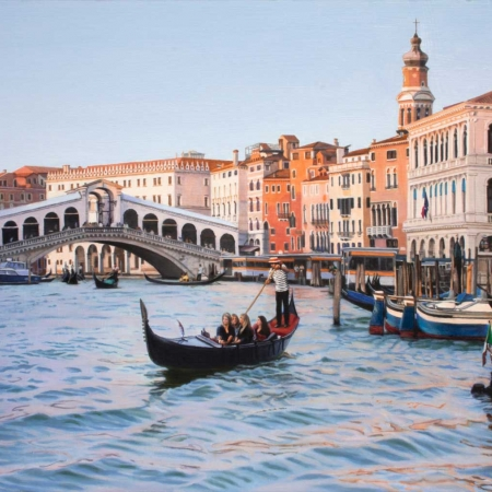 'Rialto Bridge at Dusk' oil painting by Margaret Heath