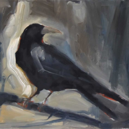 'Crow' oil painting by Rebecca Hathaway