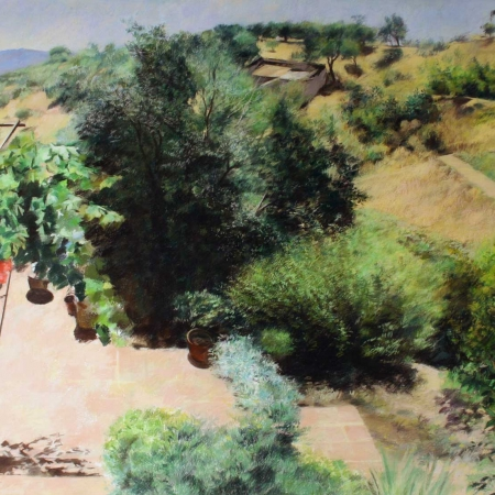 'Sunny Terrace' pastel painting by James Crittenden