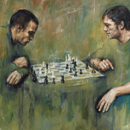 """Chess Players"" Acrylic and Oil on Canvas by Lucie Geffré"