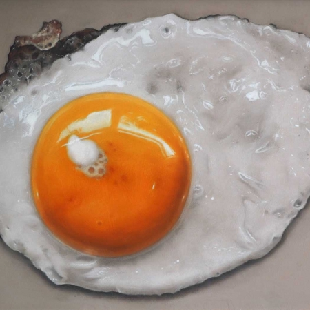 'Fried Egg' pastel work by Ian Rawling