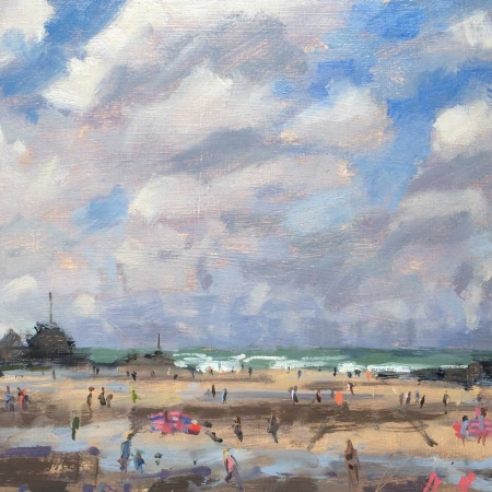 """Big Sky at Bude"" Oil on Board by Maria Rose"
