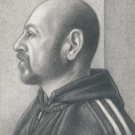 'Self Portrait with Lonsdale Sweatshirt' silverpoint drawing by Marco Ventura