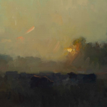 """Cattle in the Midnight Sun"" Oil on Board by Frances Bell"