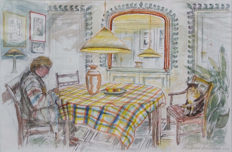"""Bawden-Richard-""""At Home with the Cat"""" w_c £1200.jpg"""