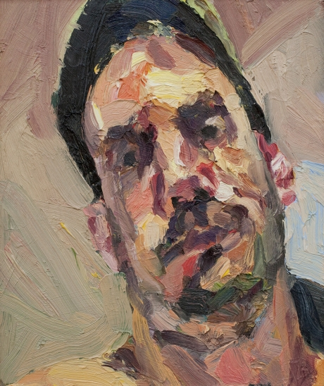 'Self portrait with hat, lamplight', oil on board, 10inches x 8inches, £1050 .JPG