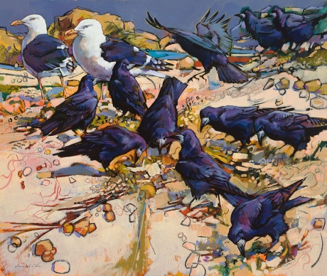 Daniel Cole, Great Black Baked Gull and Rooks, Camel Estuary