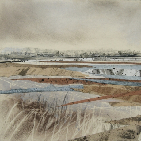 """""""Distant London, from the Wetlands"""" Mixed Media on Board by Janine Baldwin"""