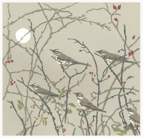 """""""Evening Redwings"""" Linocut by Max Angus"""