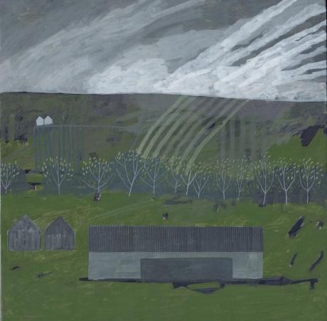 """Green Farm"" Egg Tempera by Andrew Lansley"