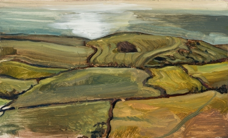 Kimmeridge fields with the sea beyond, Isle of Purbeck by Toby Wiggins RP