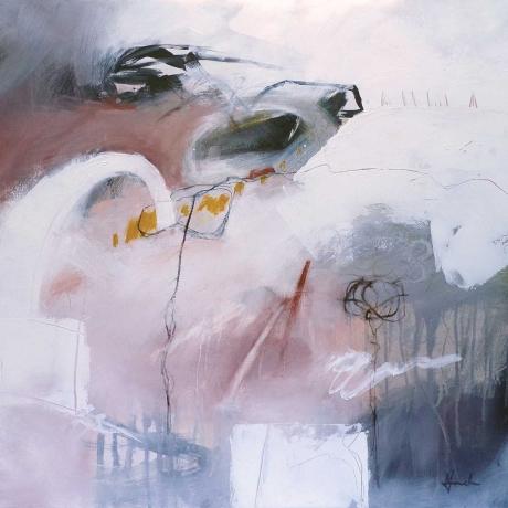 'A Fine Balance' mixed media work by Mari French