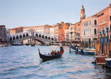 'Rialto Bridge at Dusk' oil painting by Margaret Heath