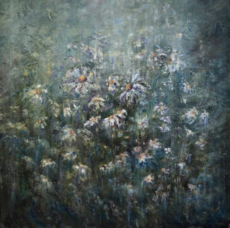 """""""Daisies: A Closer Look"""" Oil on Canvas by Diana Mackie"""