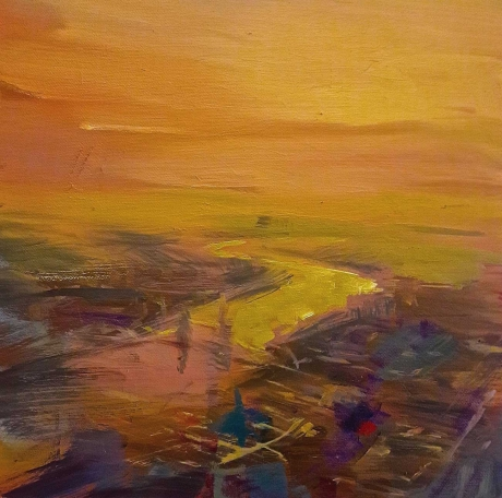 'Sunset over the City' oil painting by Philip James