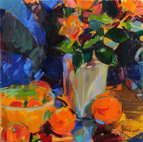 """Roses and Fruit"" Oil on Canvas by Peter Graham"