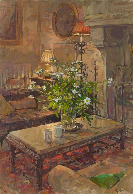 'The Vase of Daisies' oil painting by Susan Ryder