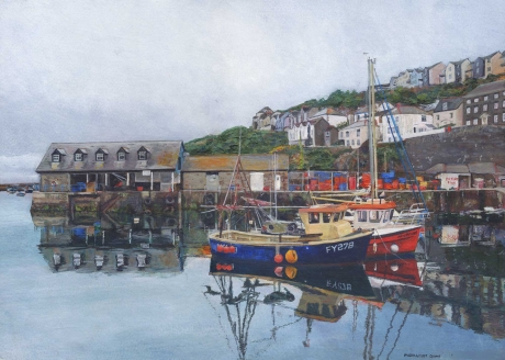 """""""Mevagissey Quay"""" Acrylic on Watercolour Paper by Glen Smith"""