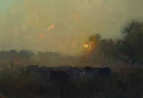 """""""Cattle in the Midnight Sun"""" Oil on Board by Frances Bell"""