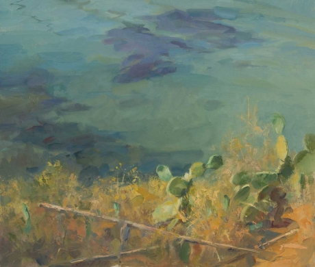 'Cactus over the Sea' oil painting by Frances Bell