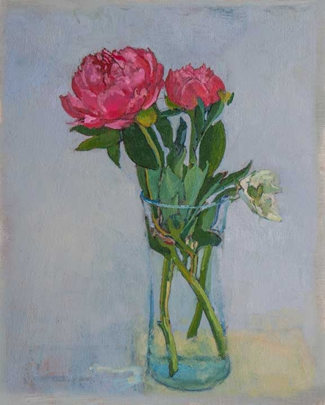 'Peonies' oil painting by Toby Ward