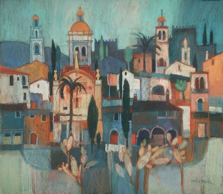 Orange domes Spain by Moira Huntly