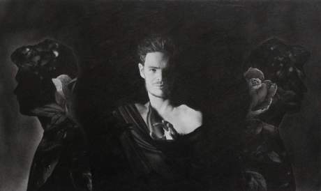 'Shadows' graphite work by Claire Anscomb
