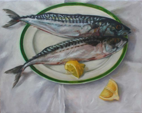 'Still Life with Mackerel' oil painting by Rosie McClelland