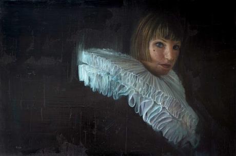 'Pleating Time' oil painting by Sophie Ploeg