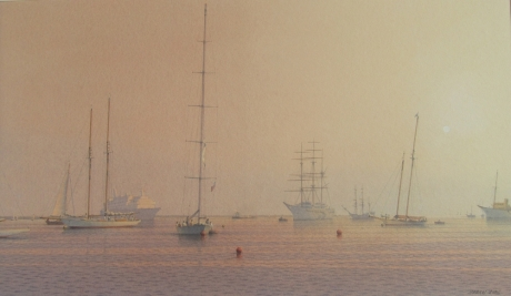 'Boats Moored at Cowes' watercolour painting by Martin Swan