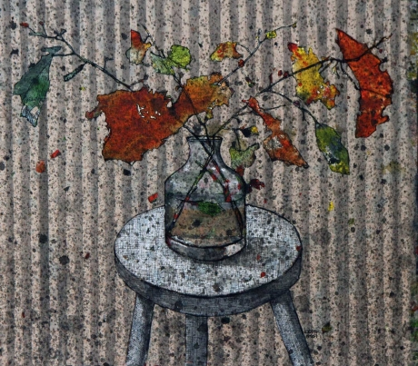 'Autumn Leaves in a Glass Vase' mixed media work by Zena Assi