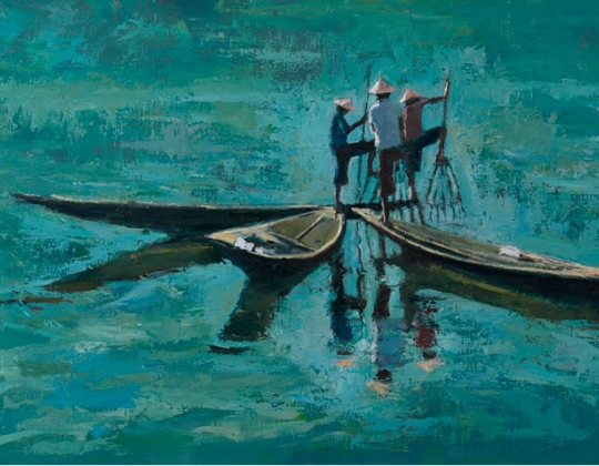 Patrick Gibbs, Three Fisherman Working Together, Inle Lake, Burma (detail)